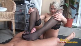 Viktoria Diamond teases her slave with some hot erotic foot domination – Erotic Female Domination