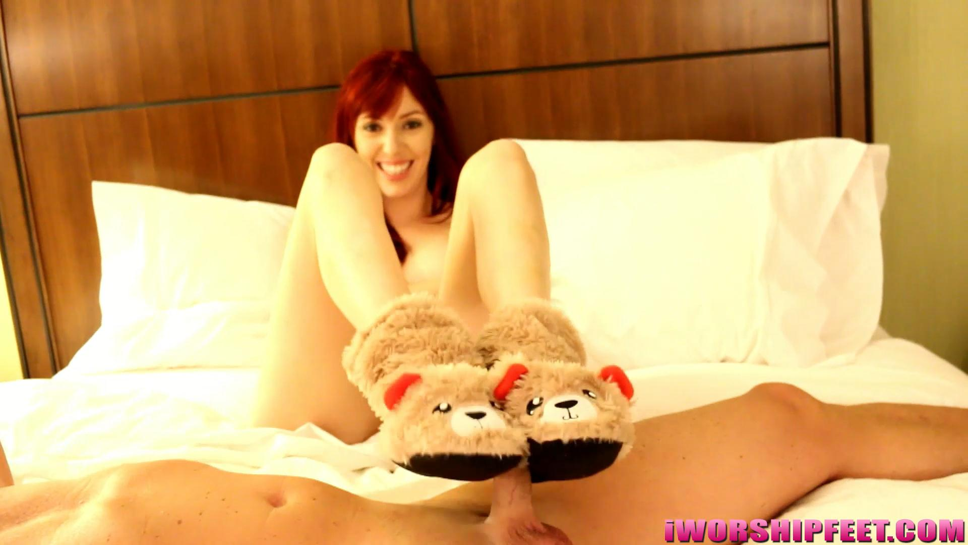 Animal Footjob Porn a hot redhead with big feet - barely legal foot jobs