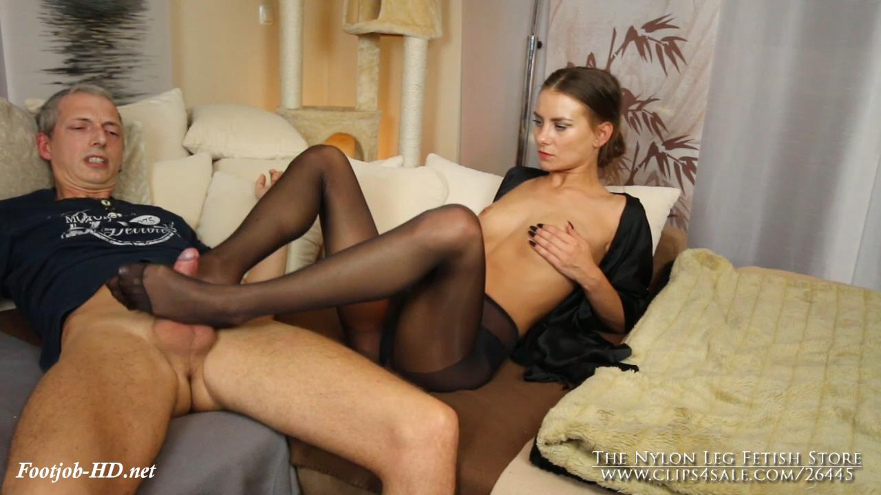 Evening footjob in black pantyhose – The Nylon Leg Fetish Store