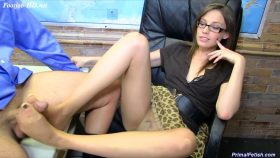 Ms. Wolff Dominates the Principal with her Pantyhose – Primal's FOOTJOBS – Jasmine Wolff