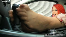 Footjob on gear shift in car – The Nylon Leg Fetish Store