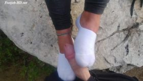 Leonie – Shoe tease. White ped socks tease. Sockjob / footjob. Cum on feet – Shoes Socks And Feet