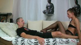 Loreen nylonslave footsniffing and footsie – The Nylon Leg Fetish Store