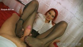 Footjob in black pantyhose with sole cum – The Nylon Leg Fetish Store