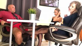 Naomi And Reagan Make Co Worker Lose Promotion Cum In Pants Under Table – Bratty Babes Own You