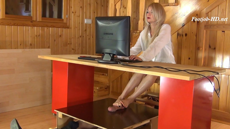 Secretary Alina, Dominant Footjob for her Boss - Aballs and cock crushing sexbomb