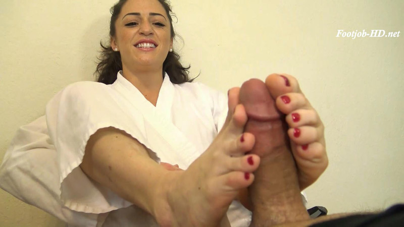 Cleo Earns Her Red Karate Belt – Footjob – Karate Domination