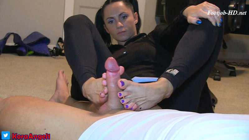 Footjob POV With Cumshot HOT! – Kora Angel