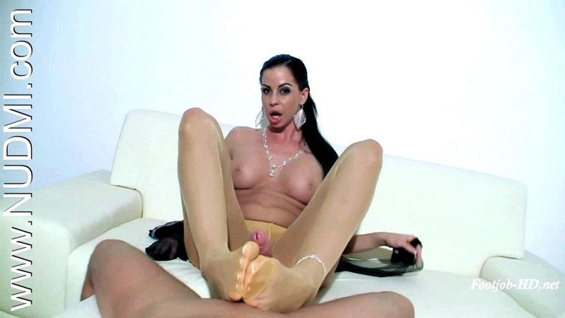 Pantyhose footjob by a busty hungarian milf – Lucy Van Angel