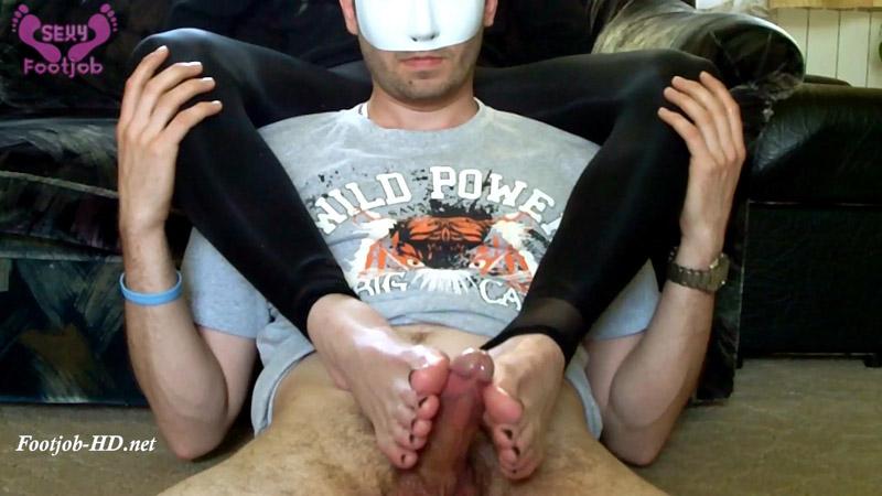 Sexy FootJob – Oiled Black Nails Footjob – Goddess FootJob