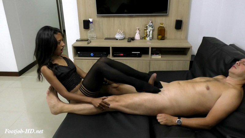 Celia Makes Footjob Wearing Stockings – Latin Domination Goddesses