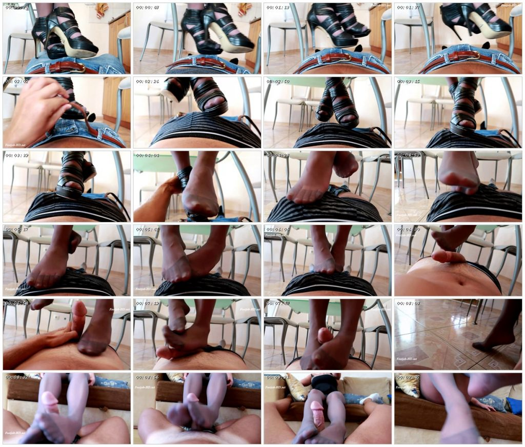 Footjob in gray pantyhose - Princess Diana_scrlist