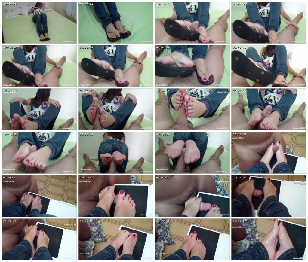 Horny Julia gives flip flop footjob with sexy jeans! – Footjob Life Style !!_scrlist