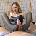 Lurina tickling slave with footjob and cum in pants – The Nylon Leg Fetish Store