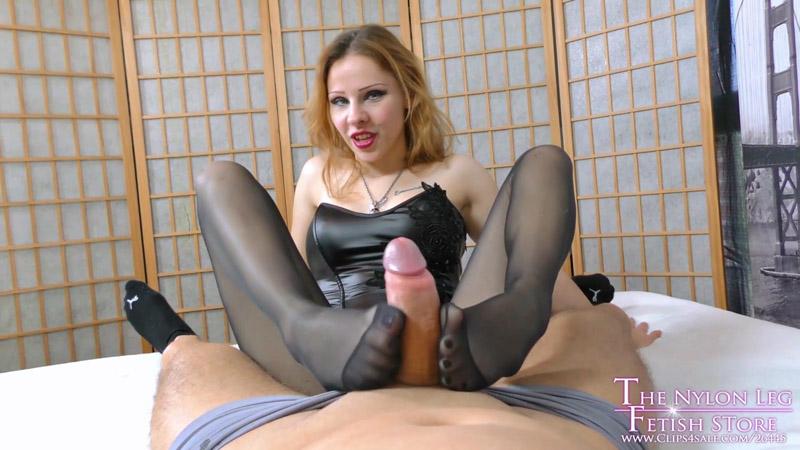Lurina tickling slave with footjob and cum in pants - The Nylon Leg Fetish Store