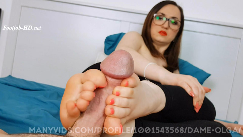 Barefoot Footjob With Leggings And Precum Play - Dame Olga's Fetish Clips