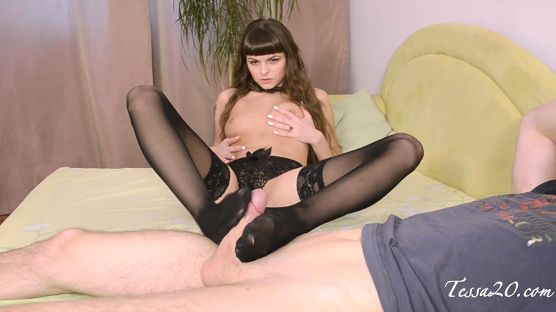 Footjob in Sexy Black Nylons! – Tessa Ray