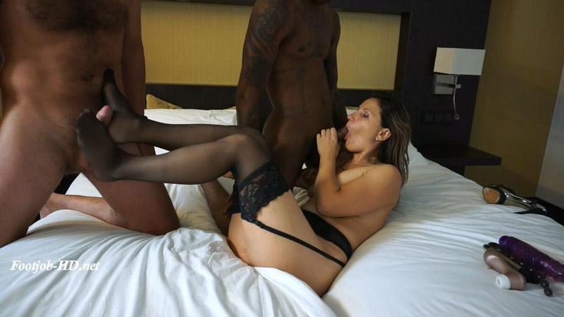 Footjob interracial threesome cum on fee – Olga Love