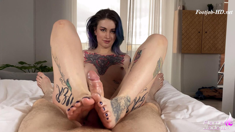 Footjob and hard anal with creampie – Flame Jade