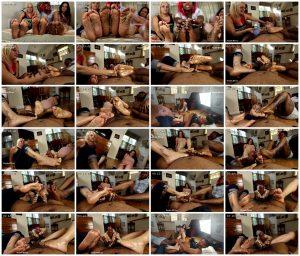 Triple Footjob @angelicas_tinytootz, @thegoddessmonica, @youlove_myfeet - Joey's FeetGirls_scrlist