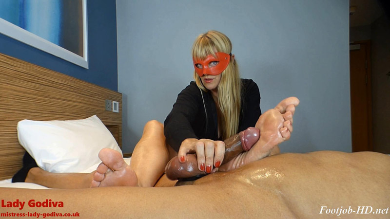 Lady Godiva plays with real cock, foot slapping it to orgasm - Lady Godiva Foot Fetish