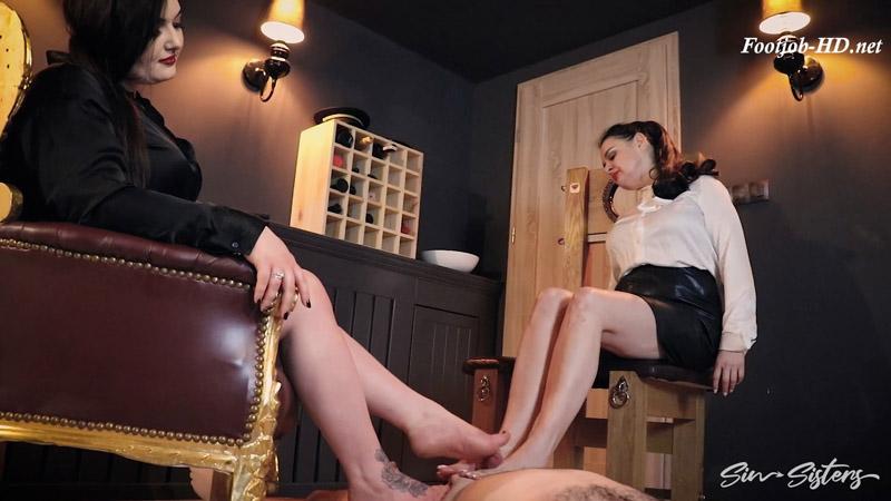 Double footjob – Mistress Karino, Dominatrix Dinah
