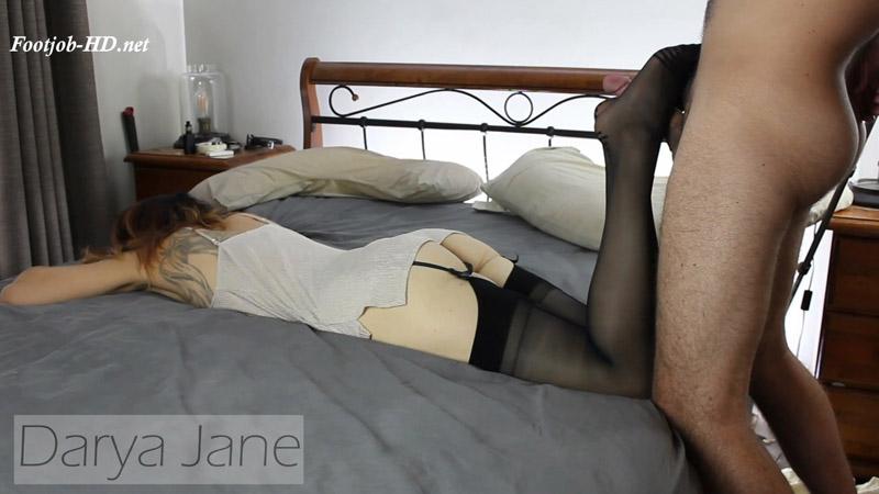 Footjob cum on Ass and Stockings – Darya Jane
